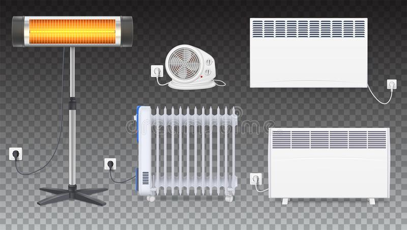 Electric oil radiator, heater with fan, panel of radiator, quartz halogen heater with the glowing lamp. Appliances for. Space heating in the interior of room stock illustration