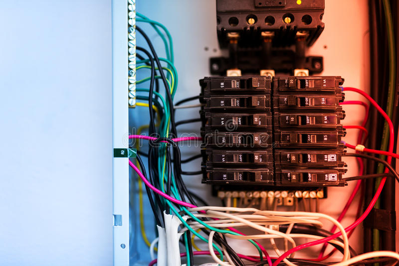 Electric outdoor fuse box in soft light.  royalty free stock photos