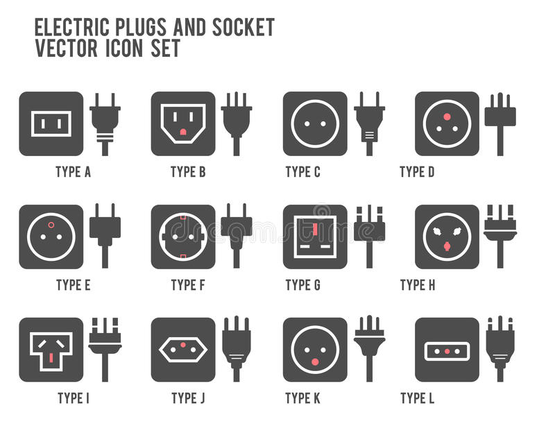 Electric outlet illustration. Different type power socket set, vector isolated icon illustration for different country plugs. Powe vector illustration