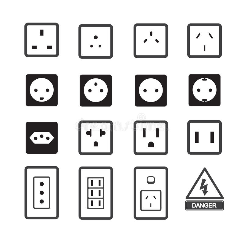 electric outlet and plug icon stock vector