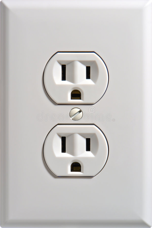electric outlet receptacle wall 图库摄影