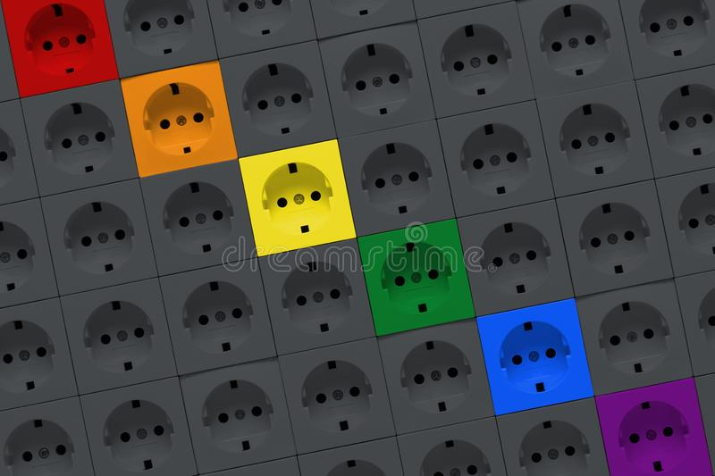 Electric outlets of rainbow colors royalty free stock photography