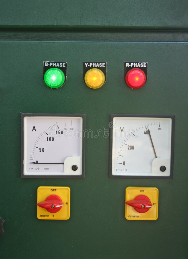 Download Electric Panel And Main Switch Board Lights Stock Photo