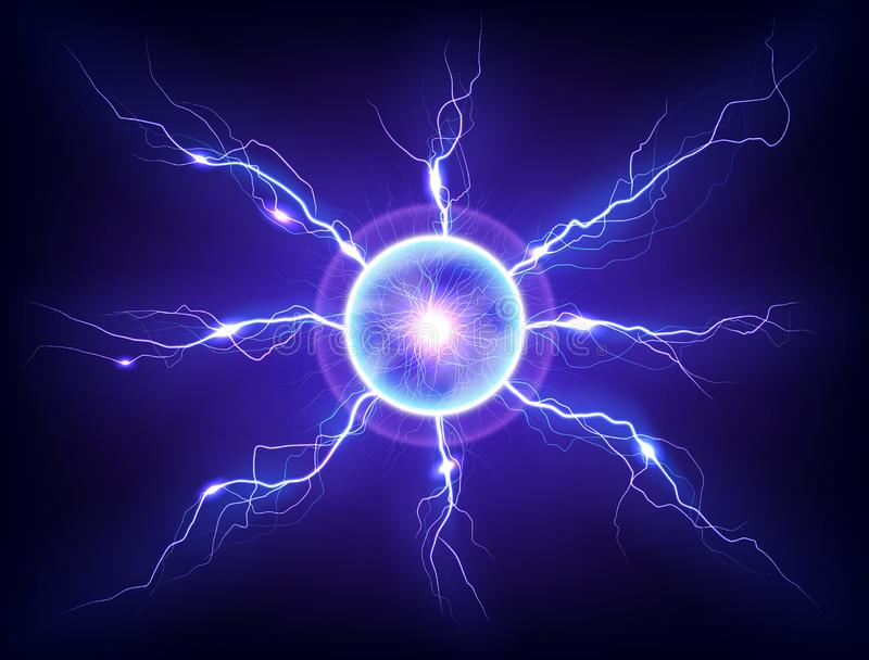 Electric plasma lightning thunderball discharge on dark background royalty free stock images