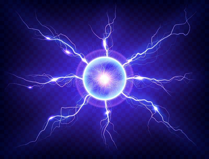Electric plasma lightning thunderball discharge on transparent background. stock illustration
