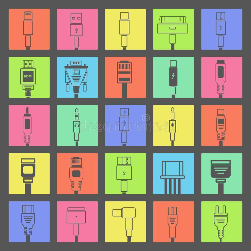 Free Electric Plug, Connectors And Jack Flat Line Icons Set. Collection Connection Technology, Connector Electric Power, Mobile Devices Royalty Free Stock Image - 101484606