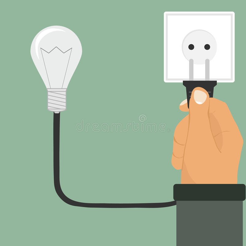 Electric plug in hand, hand includes a light bulb. Flat design, vector illustration, vector vector illustration