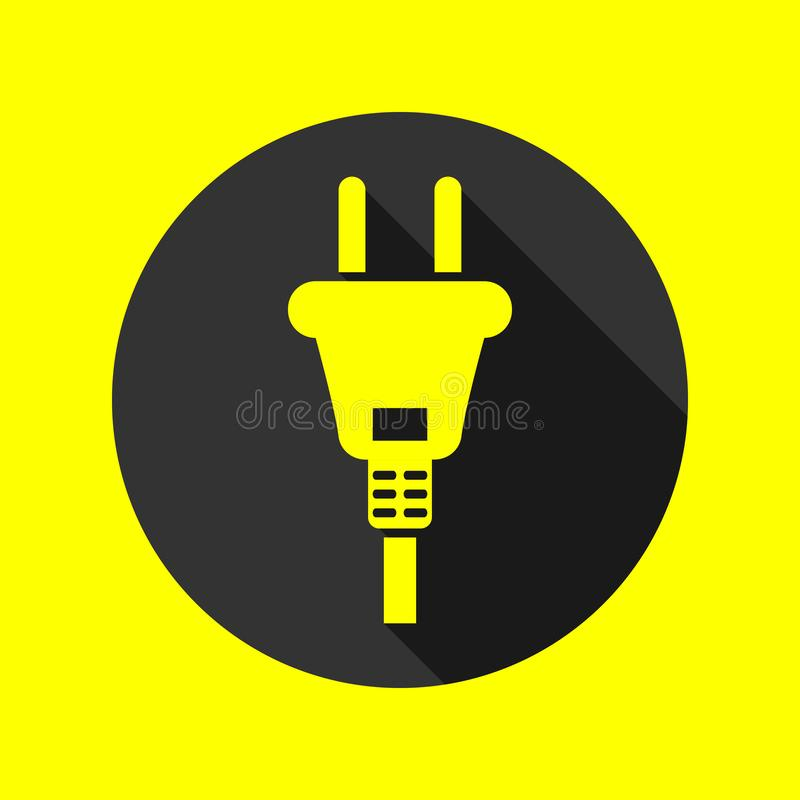 Electric plug icon with long shadow, danger sign, vector illustration. stock illustration