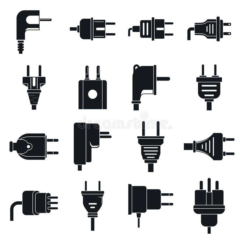 Electric plug icons set, simple style vector illustration