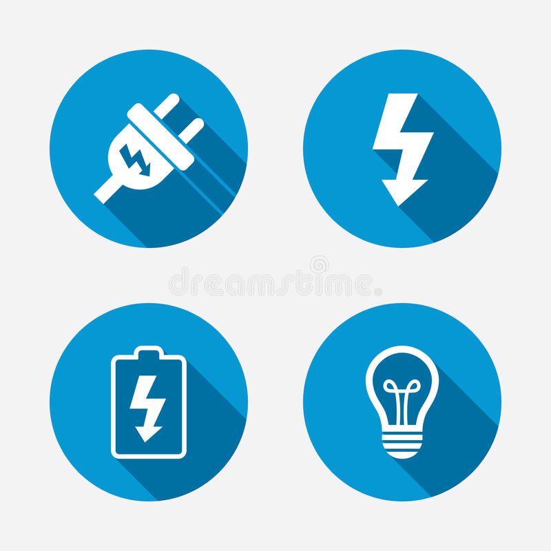 Electric plug sign. Lamp and battery low. Electric plug icon. Lamp bulb and battery symbols. Low electricity and idea signs. Circle concept web buttons. Vector stock illustration