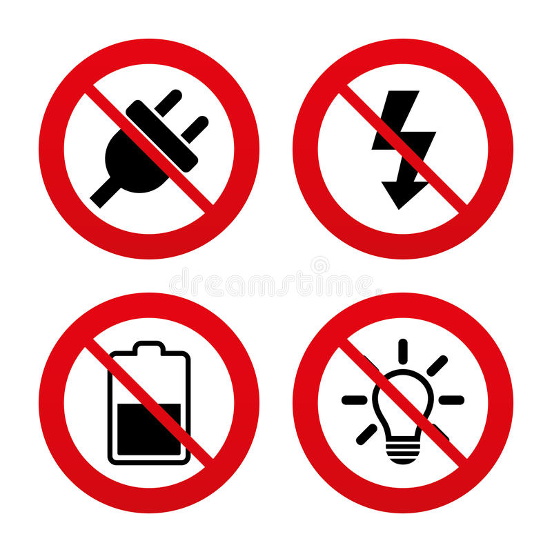 Electric plug sign. Light lamp and battery half. No, Ban or Stop signs. Electric plug icon. Light lamp and battery half symbols. Low electricity and idea signs vector illustration