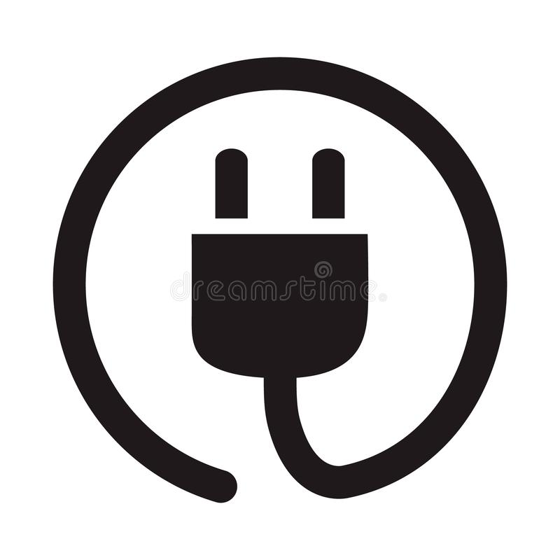 Electric plug socket icon, simple flat vector illustration, concept power wire cable pictogram royalty free illustration