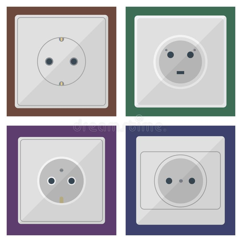 Electric Plugs Stack Outlet Illustration Energy Socket Electrical ...