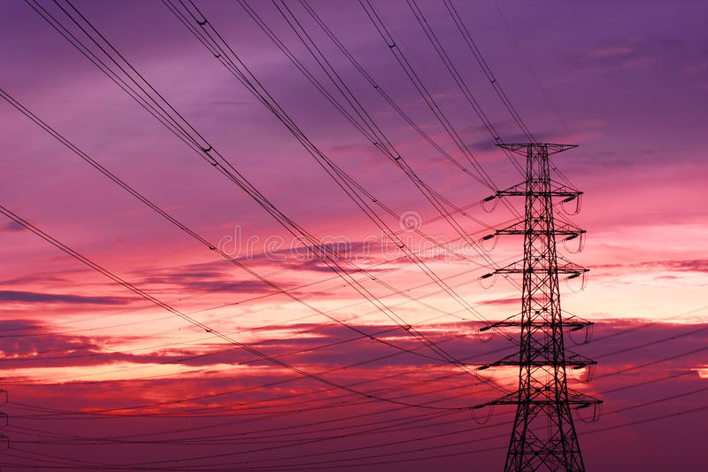 An Electric Pole. In Upcountry of Thailand stock photography