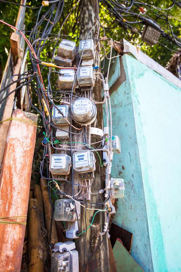 Electric pole in the Asian country. See my other works in portfolio royalty free stock photography