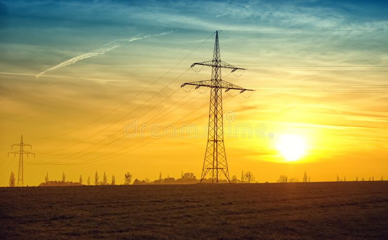 Electric Pole In Field At Sunset Free Public Domain Cc0 Image