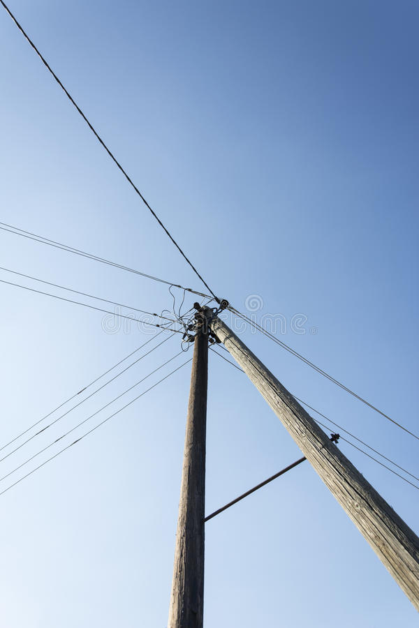 Electric pole. Photographed pole on which are connected conductors of electricity in the village in northern Bosnia and Herzegovina. It has the form A, the first royalty free stock photography