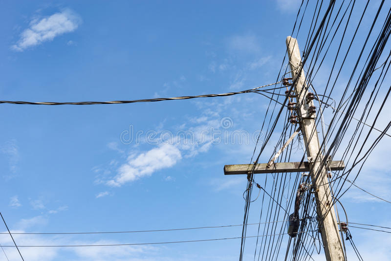 Electric pole power lines and wires stock photos