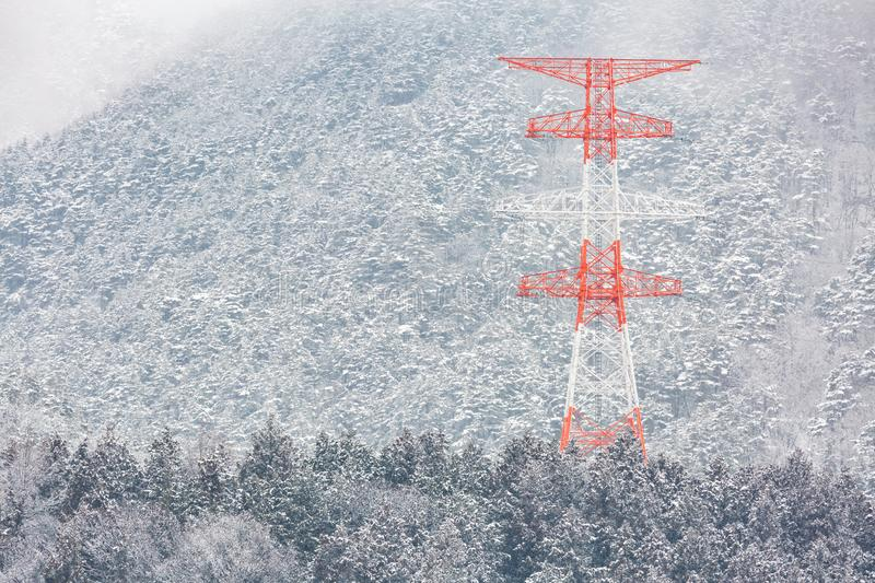 Electric pole Winter Landscape. Electric pole Power post with winter Landscape of Pine Forest at Nagano Chubu Japan stock photos