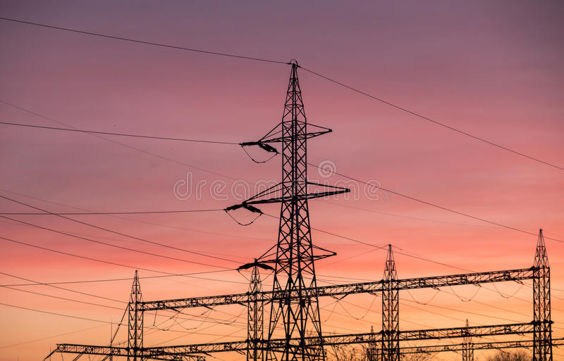Electric poles royalty free stock photos