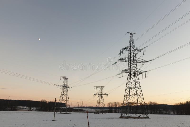 Electric poles, winter royalty free stock photos