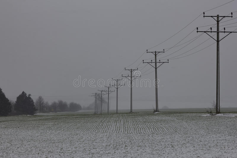 Electric poles in a snow royalty free stock photos