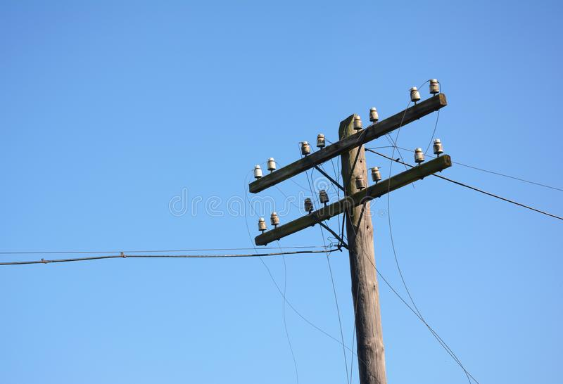 Electric post power pole. Wire breakage after hurricane. Broken power line. Hurricanes caused more damage than expected including loss of electricity for stock images