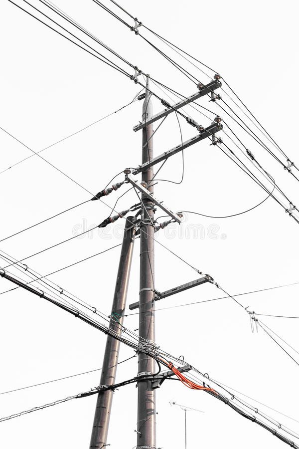 Electric Post With White Background () Stock Photo - Image of post ...