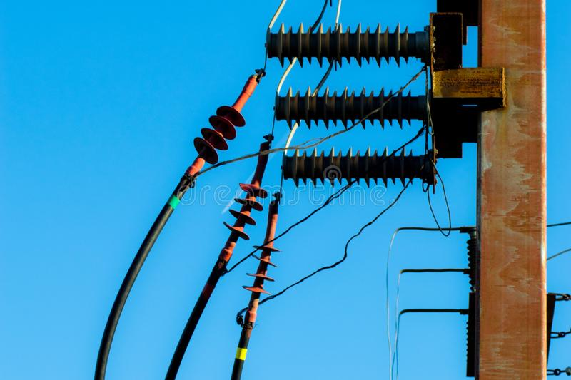 Electric post with wires, powerful energy royalty free stock image