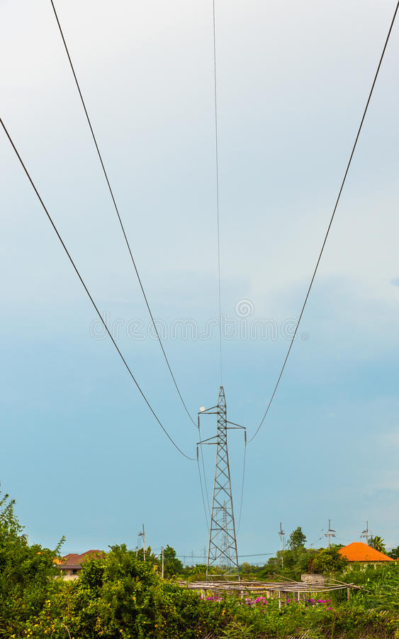 Electric Power  On Blue Sky Stock Photo