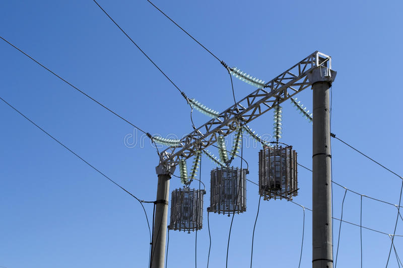 Electric power distribution substation royalty free stock photography