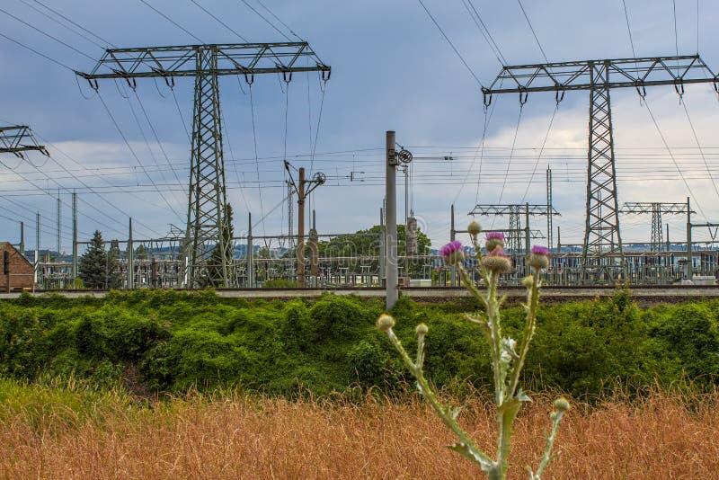 Substation of the pumped storage power station Niederwartha stock photos