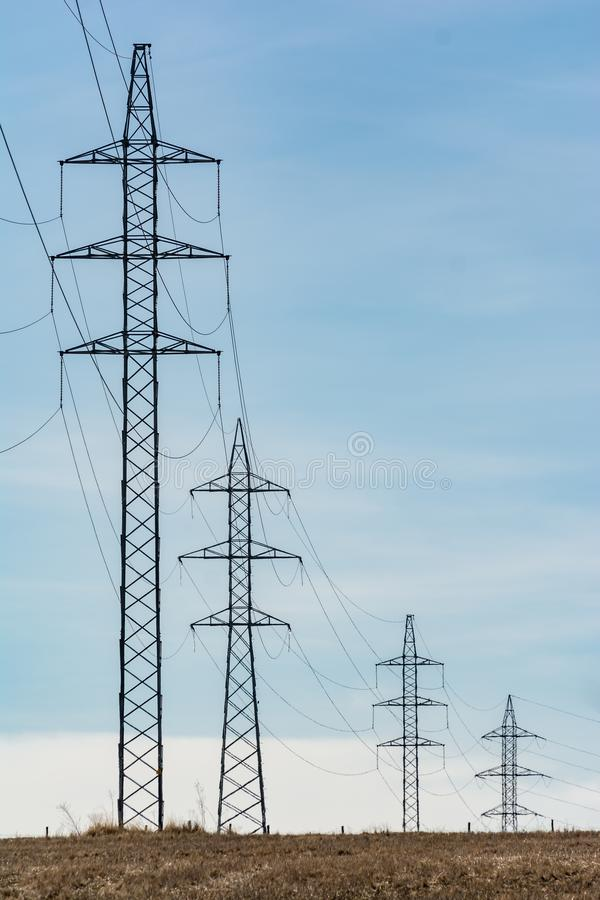 Electric power driving towers in the interior of Spain stock photo