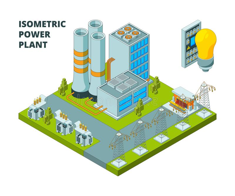 Electric power factory. Industrial electricity plant or station energy buildings vector 3d isometric pictures vector illustration