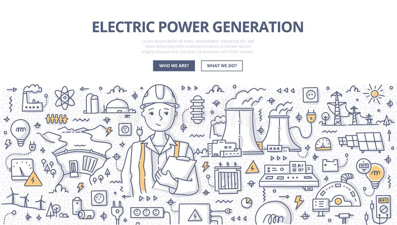 Electric Power Generation Doodle Concept stock illustration