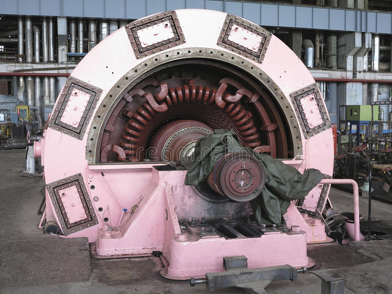 Electric power generator and steam turbine during repair stock photo