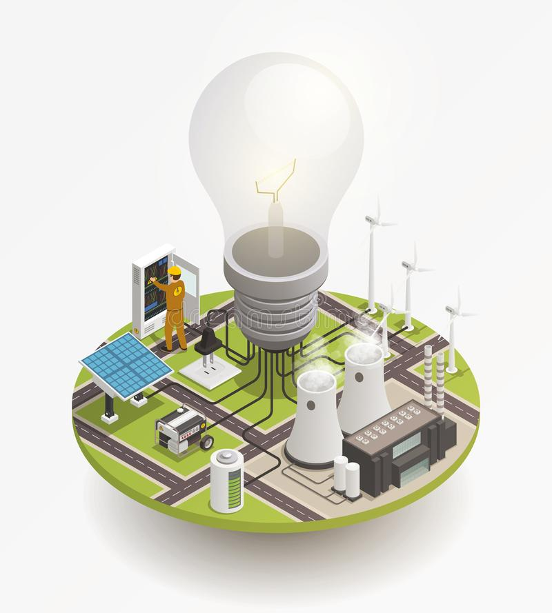Electric Power Isometric Composition Icon stock illustration