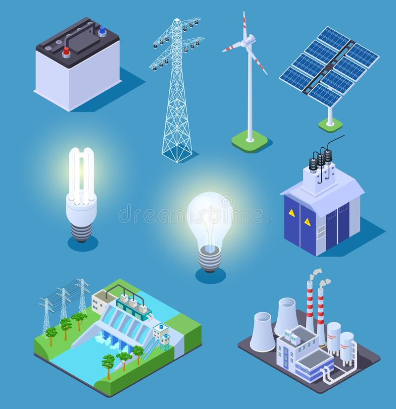 Electric power isometric icons. Energy generator, solar panels and thermal power plant, hydropower station. Electrical vector illustration