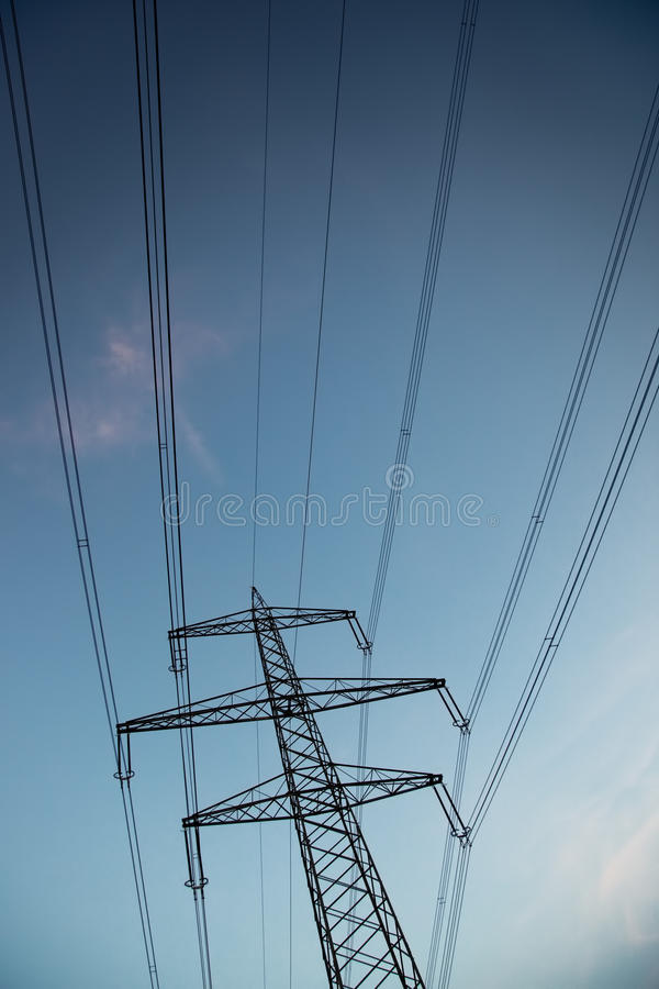 Electric power line. Dark evening light royalty free stock photos