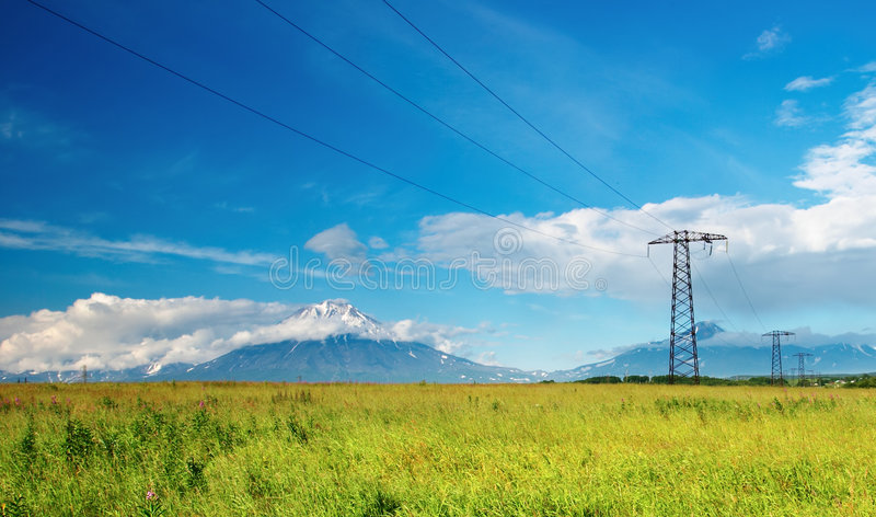 Electric power line. Landscape with mountains and electric power line royalty free stock image