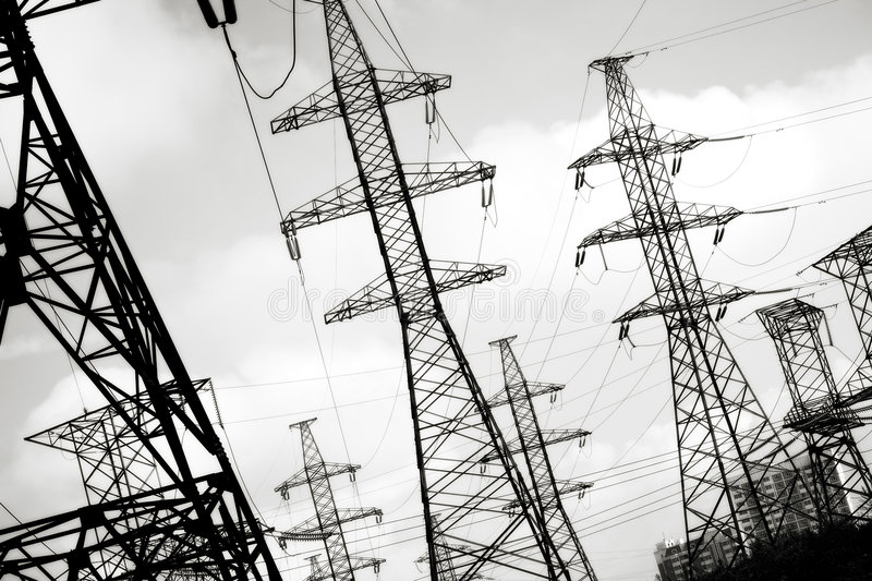 Electric power line. Black and white concept stock photo