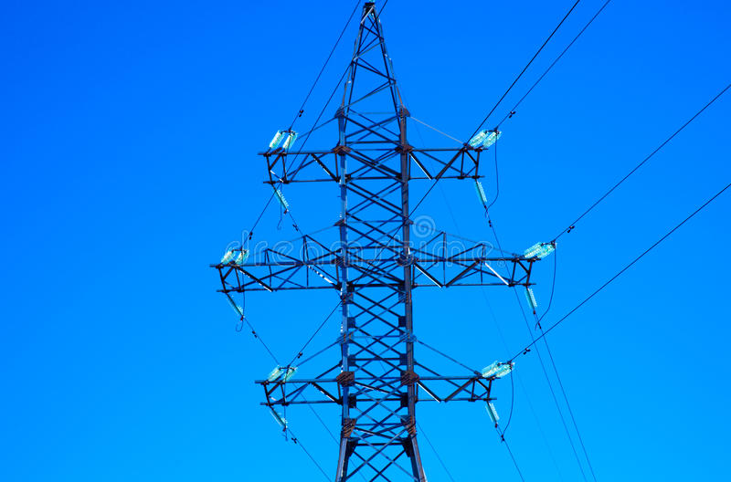 Electric power line. Close up royalty free stock image