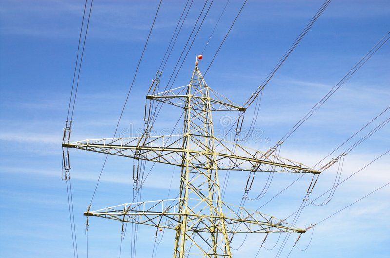 Electric power line and tower royalty free stock images