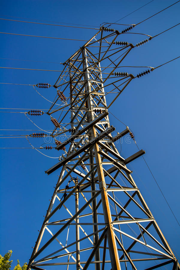 Electric power line tower royalty free stock images