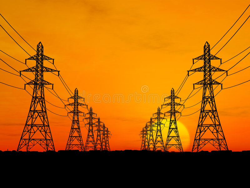 Electric power lines stock photos