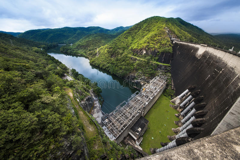 Electric Power Plant, Bhumibol Dam in Tak Province, Thailand. Bhumibol hydro power plant, The Bhumibol Dam is a concrete arch dam on the Ping River, Tak Province royalty free stock photos