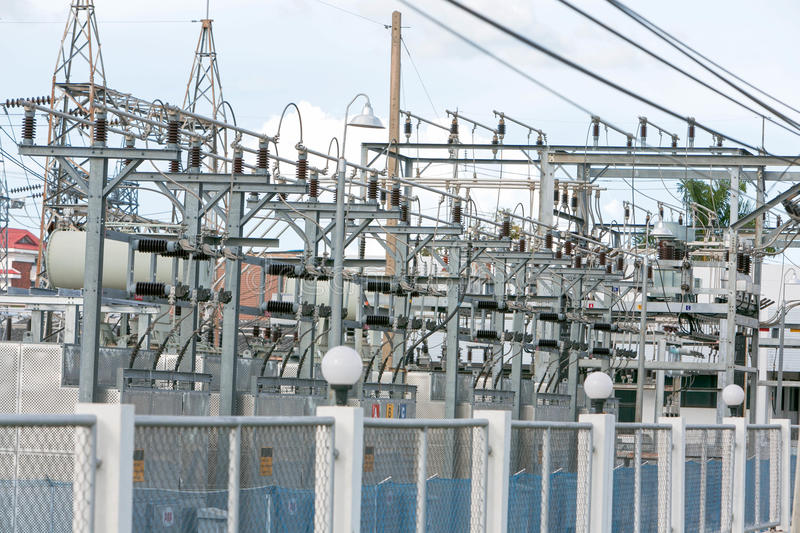 Electric Power-plant transformer station area. stock image
