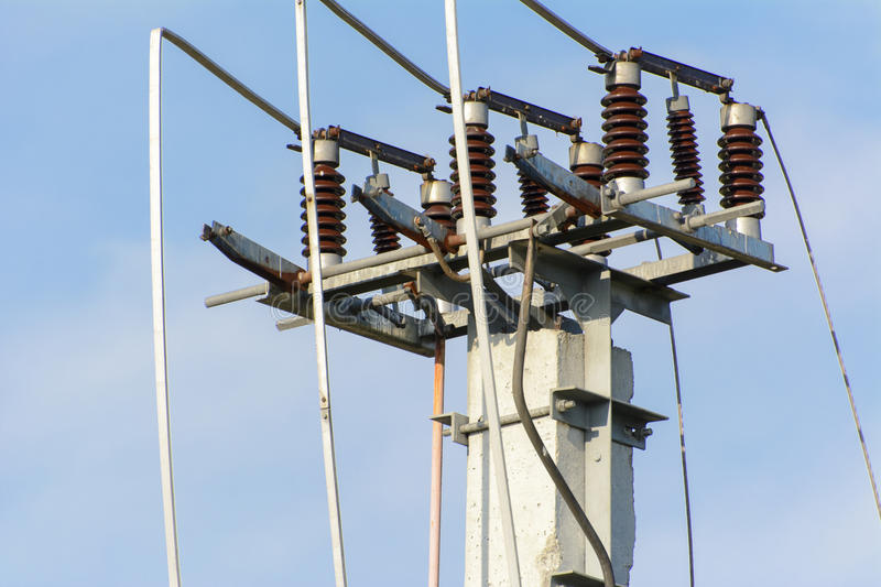 Electric power. Post with wire stock photo