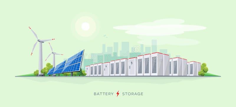 Electric Power posterar med batterilagringssystemet stock illustrationer