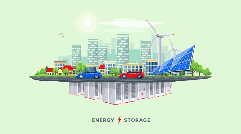Electric Power Stacyjny i Podziemny Bateryjny Składowy system z Miastową miasto wyspy linia horyzontu ulicą ilustracja wektor